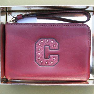 COACH Leather Wristlet Wallet Coin Purse NEW Red